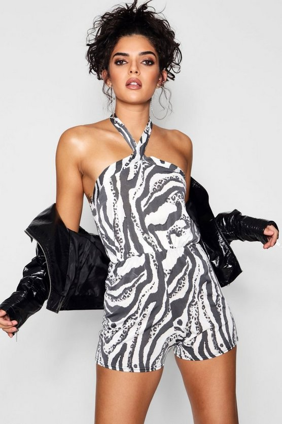 Robyn Zebra Print Twist Neck Playsuit