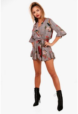 Womens Black Checked Ruffle Wrap Romper