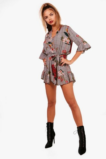Womens Black Checked Ruffle Wrap Playsuit