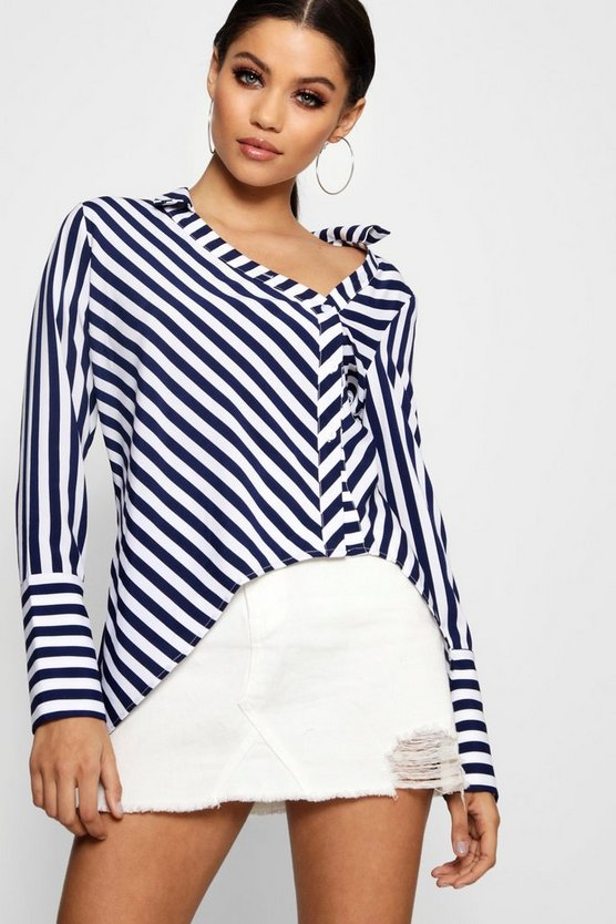 Womens Blue Asymmetric Deep Cuff Stripe Shirt