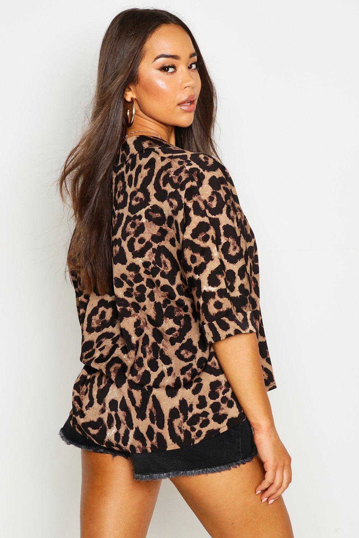 con Camisa animal de cuello leopardo solapas de 0Zw08r