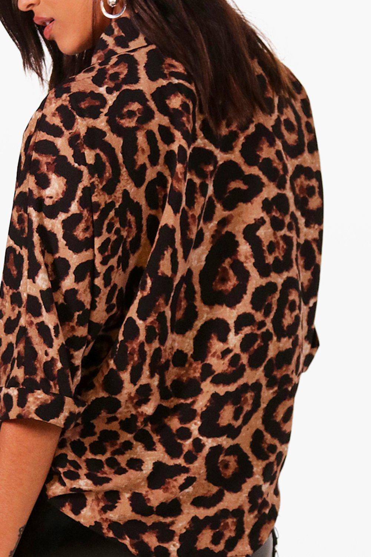 de de cuello leopardo animal Camisa solapas con nICwgxxqzR