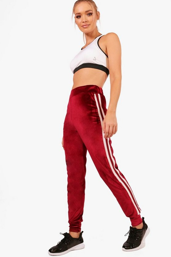 Athleisure Sports Stripe Velour Jogger