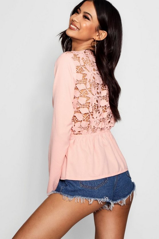 Lace Back Tie Front Blouse