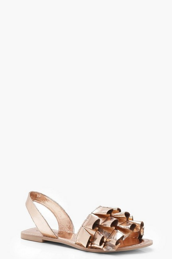 Frill Detail Leather Slingback Sandals