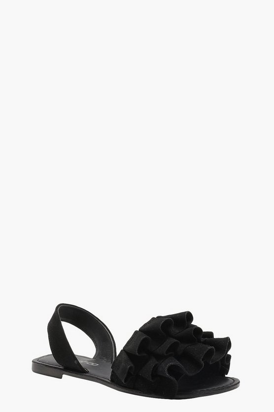 Womens Black Frill Detail Suede Slingback Sandals