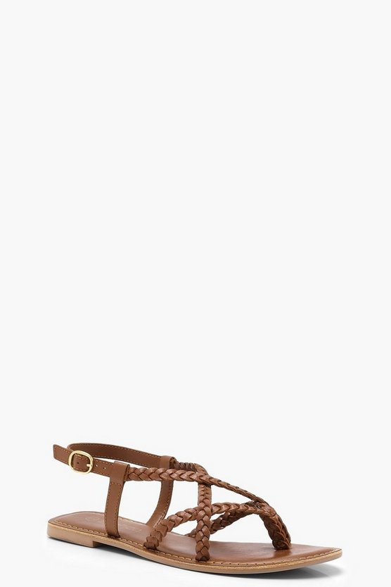 Plaited Cross Strap Leather Sandals by Boohoo