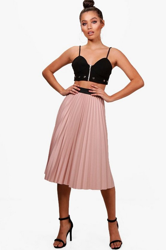 Woven Pleated Midi Skirt