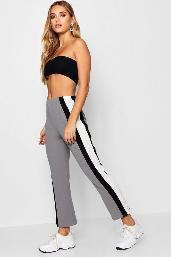 Crepe Side Stripe Kick Flare Trouser