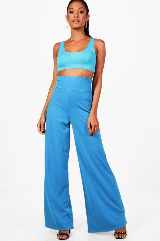 High Waist Scuba Wide Leg Trouser