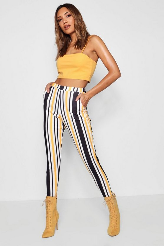 Striped Crepe Skinny Trousers