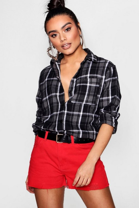 Womens Grey Oversized Checked Shirt
