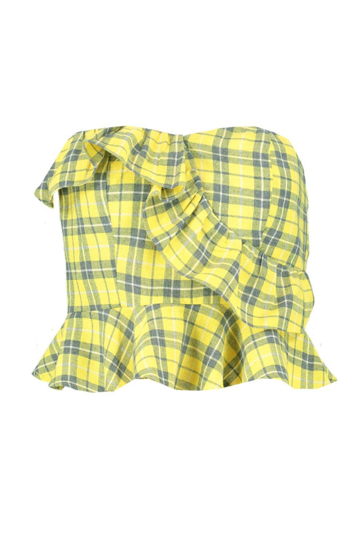 de tejido Palabra a cuadros volante con amarillo TqA6xz4