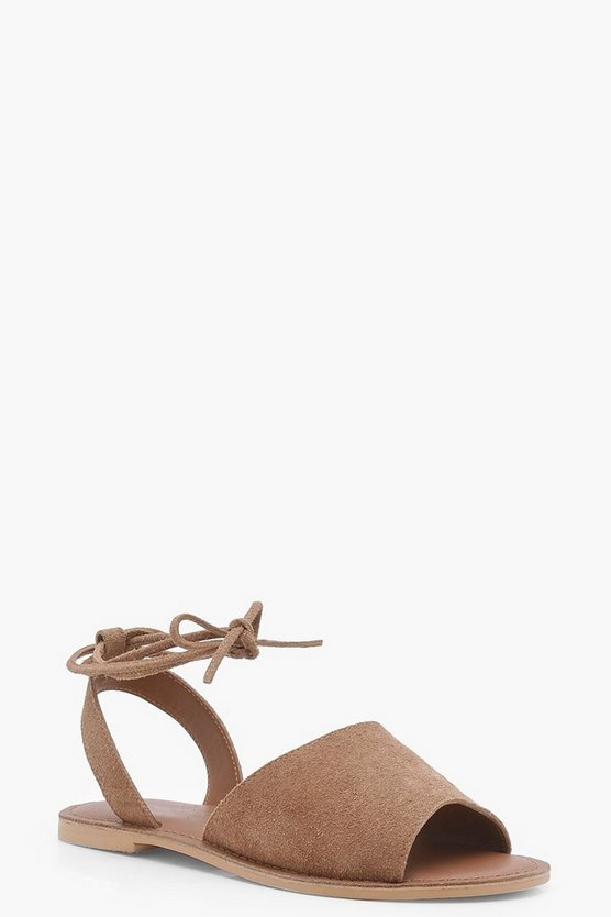 Wide Fit Suede Peeptoe Wrap Ankle Strap Sandals