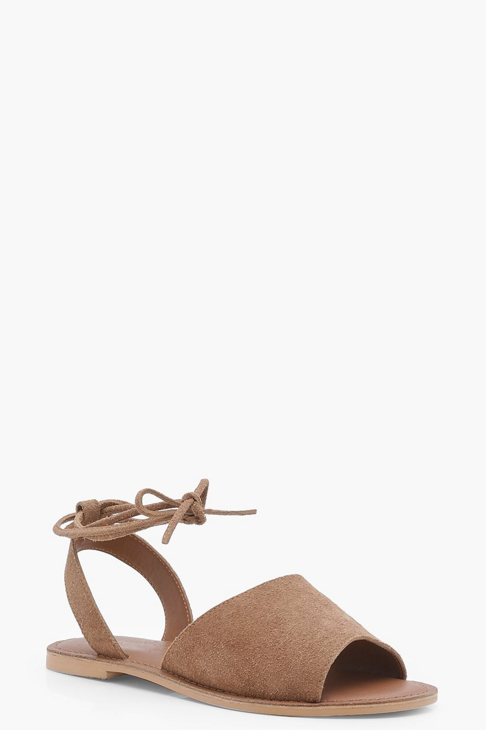 0992539d27b Wide Fit Suede Peeptoe Wrap Ankle Strap Sandals