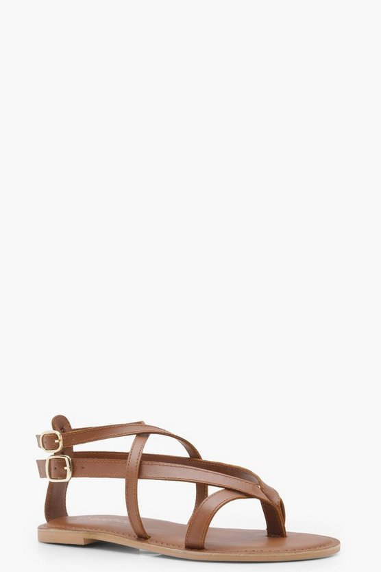 Amy Wide Fit Leather Wrap Strap Sandals
