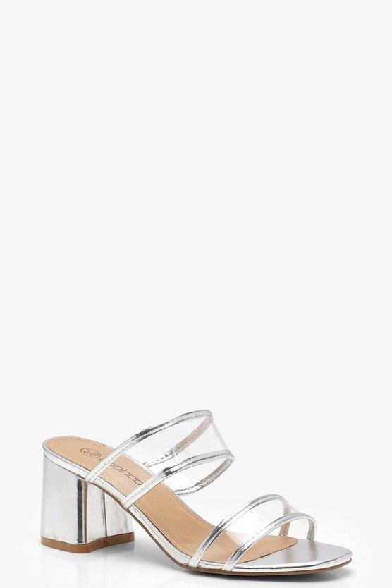 Womens Silver Wide Fit Double Clear Band Mules