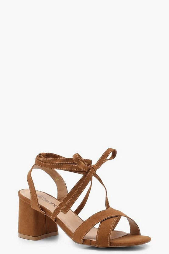 Wide Fit Cross Strap Ankle Wrap Mid Block Heels