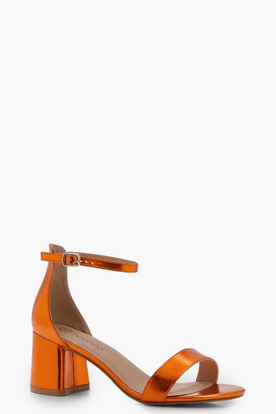 Womens Orange Metallic Block Heel 2 Part Heels