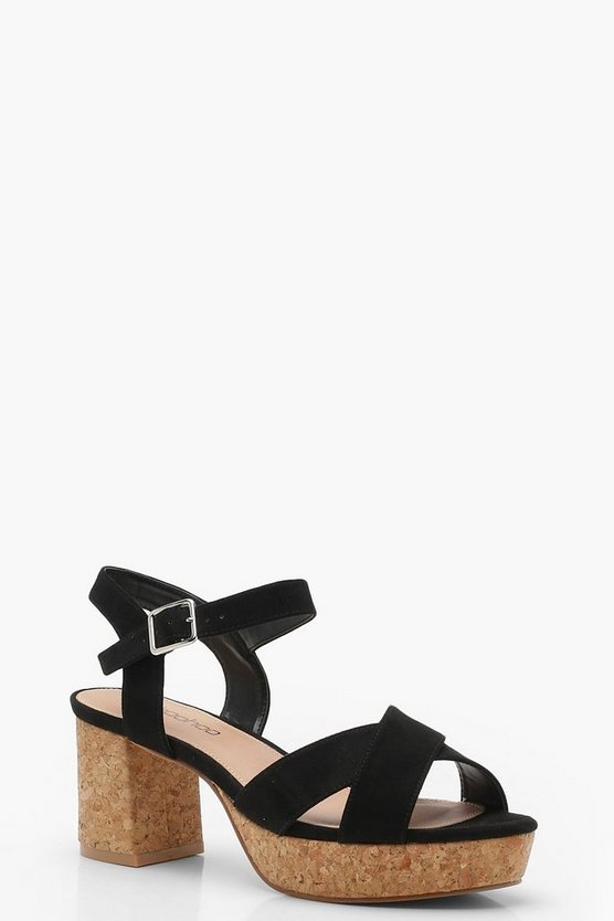 Extra Wide Fit Cross Strap Platform Cork Heels