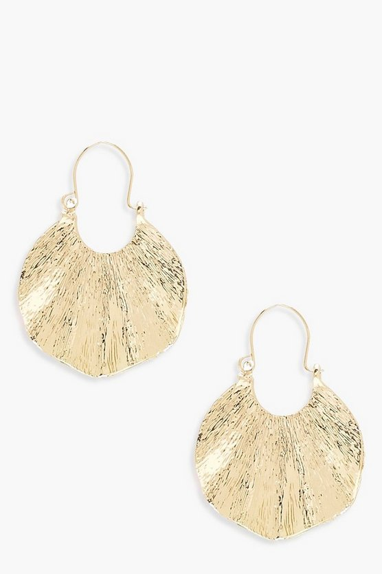 Womens Gold Pleated Plate Earrings