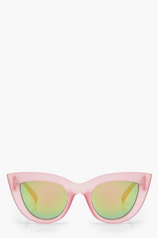 Womens Pink Retro Lens Cat Eye Sunglasses