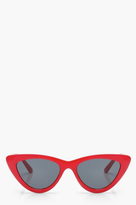 Red Slim Extreme Cat Eye Sunglasses