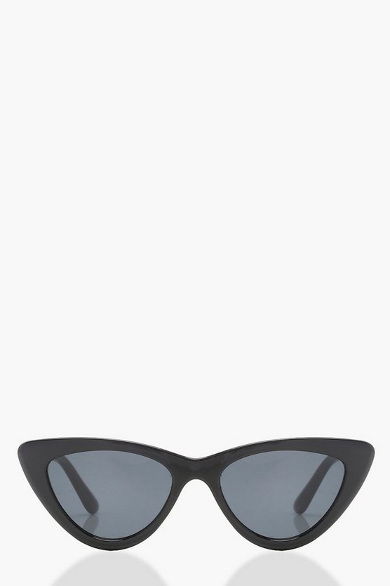 Womens Black Slim Extreme Cat Eye Sunglasses