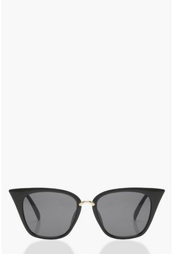 Womens Black Square Cat Eye Sunglasses