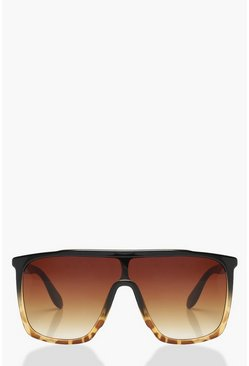 Womens Brown Oversized Tortoiseshell Visor Sunglasses