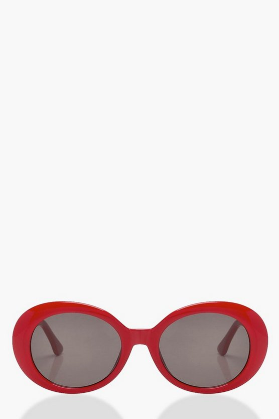 Oval Red Round Sunglasses