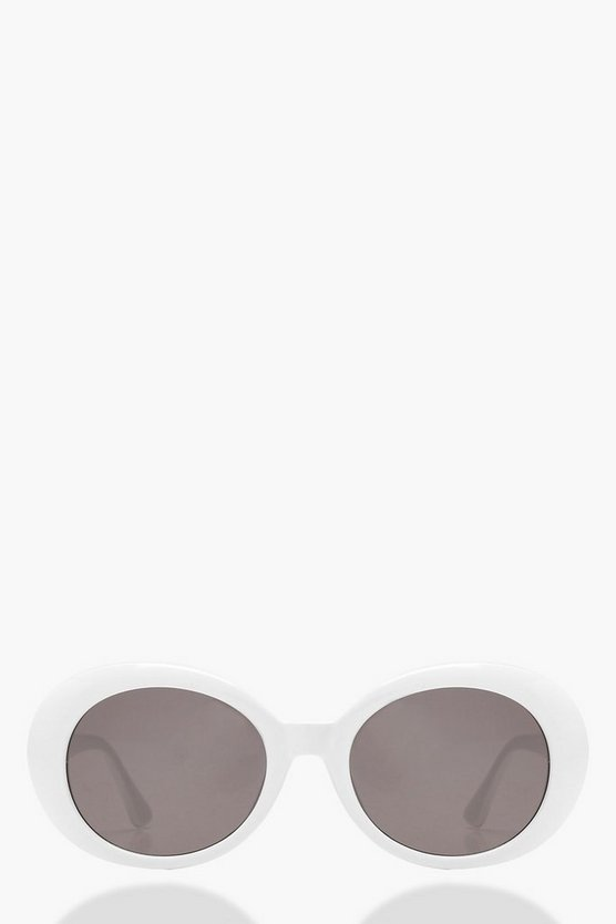 White Round Oval Sunglasses