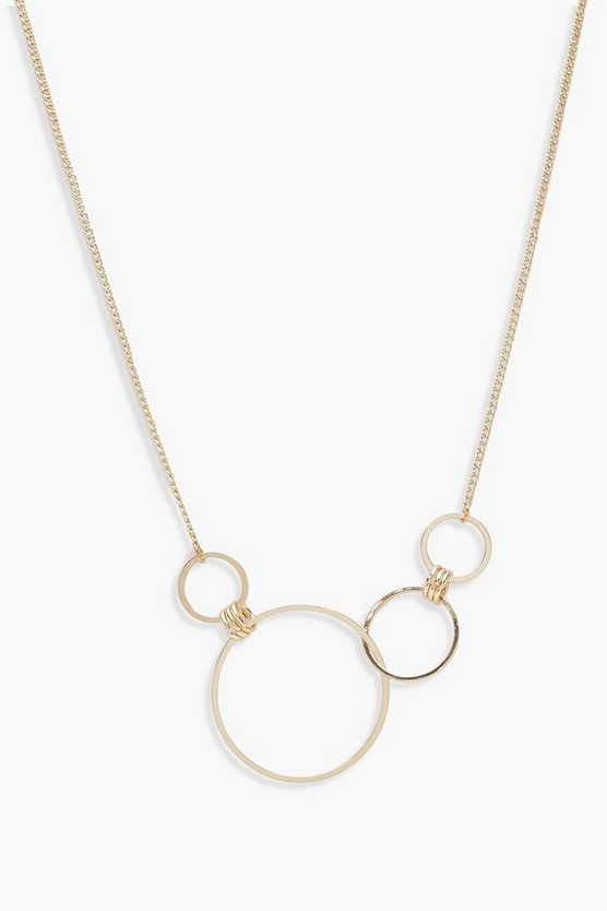 Womens Gold Linked Hoop Necklace