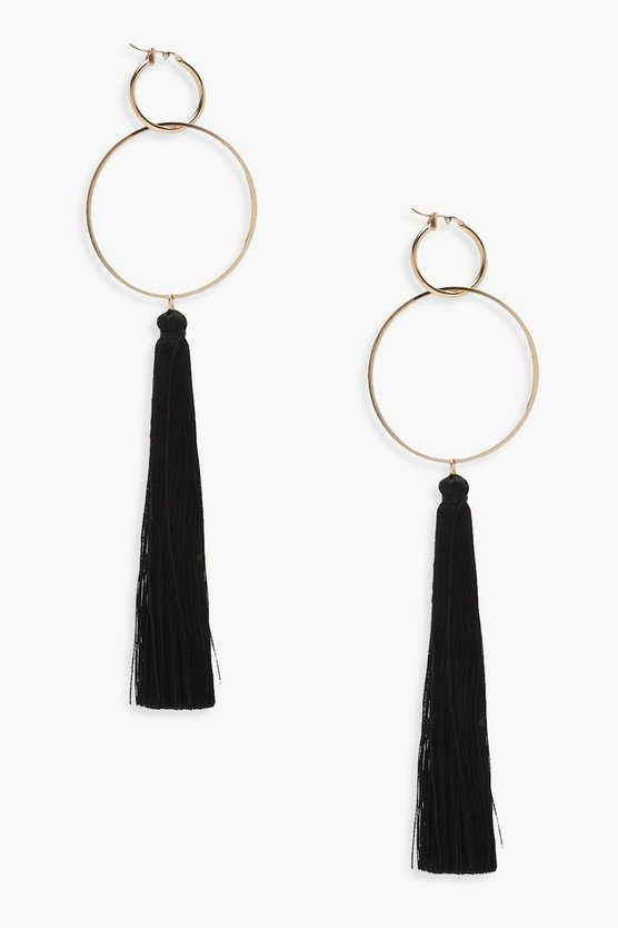 Womens Black Hoop Tassel Earrings