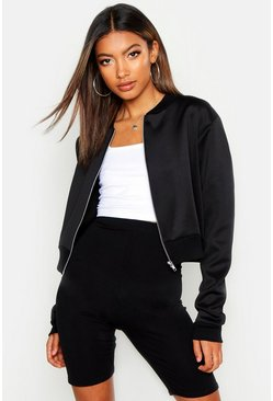 Womens Black Crop Bomber Jacket