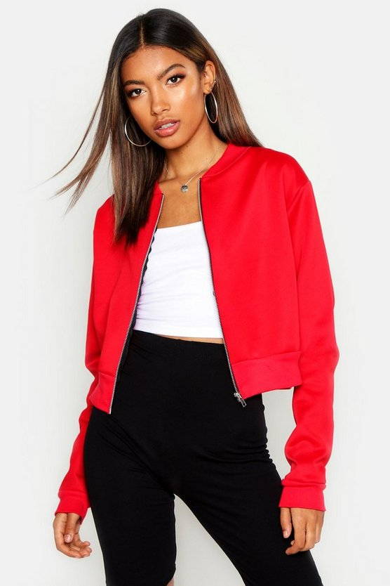 Womens Red Crop Bomber Jacket