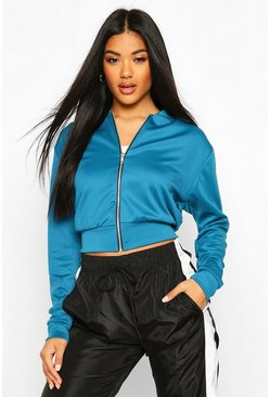 Womens Teal Crop Bomber Jacket