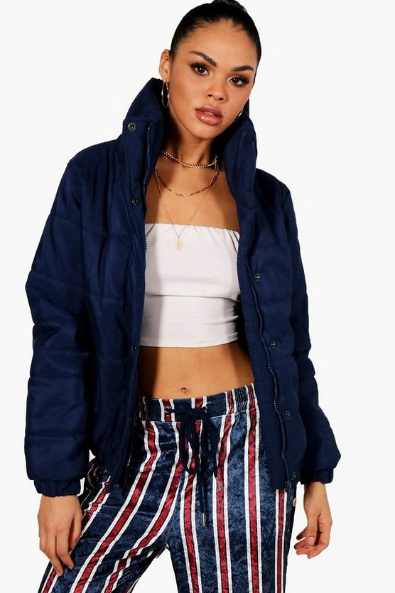 Navy Crop Funnel Neck Padded Jacket
