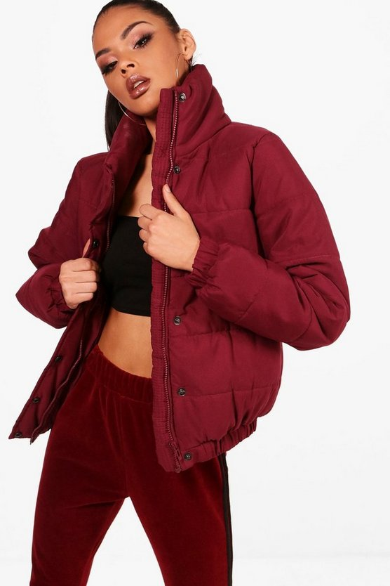 Womens Wine Crop Funnel Neck Padded Jacket