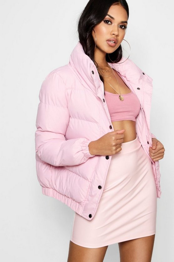 Womens Pink Crop Funnel Neck Padded Jacket