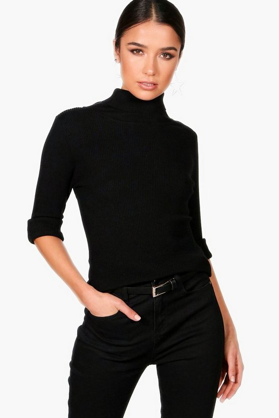 Rebecca Ribbed Polo Neck Jumper