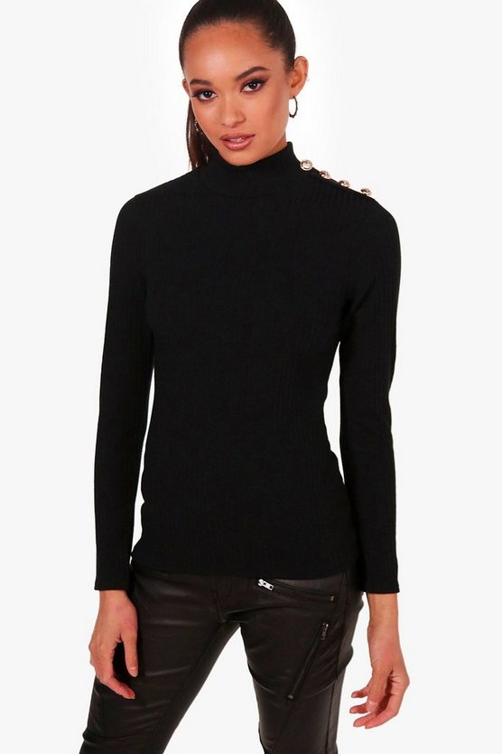 Black Military Button Detail Jumper