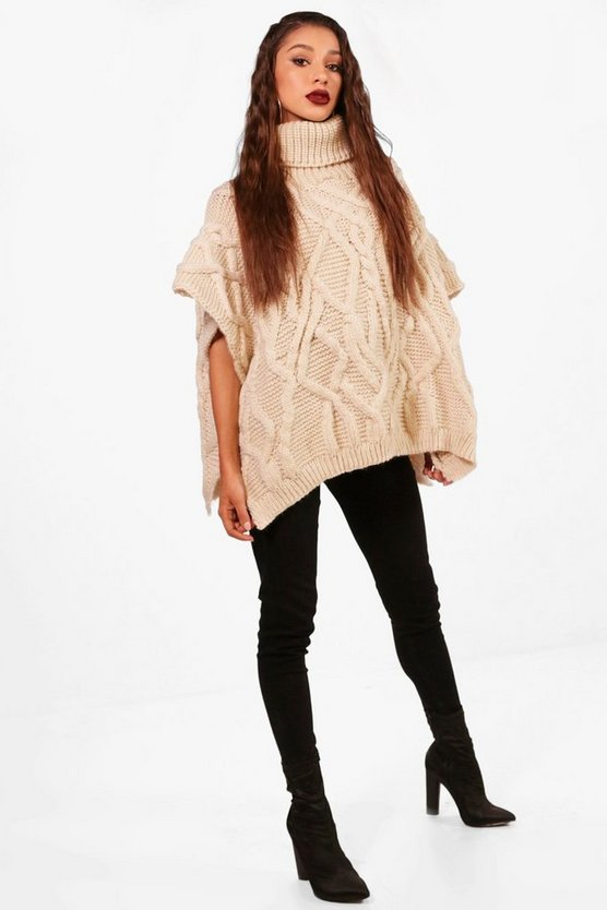 Evie Cable Knit Roll Neck Poncho