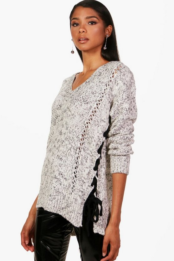Marl Knit Lace Up Detail Jumper