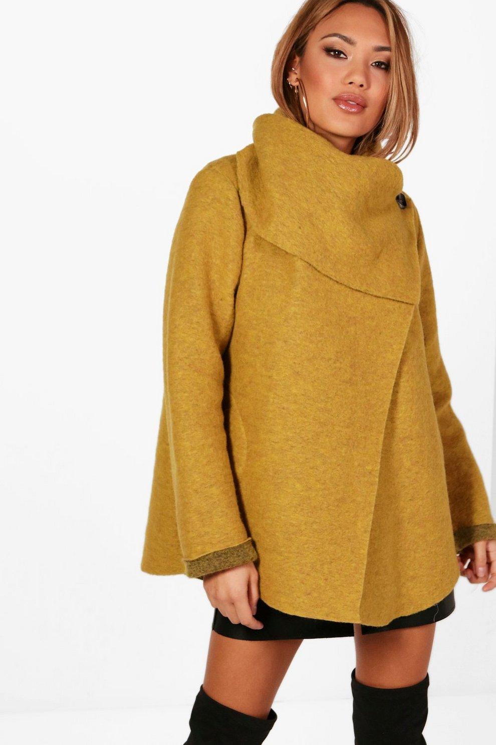 9bb81fdfff548 Funnel Neck Wool Coat