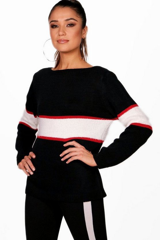 Jessica Stripe Colour Block Knitted Jumper