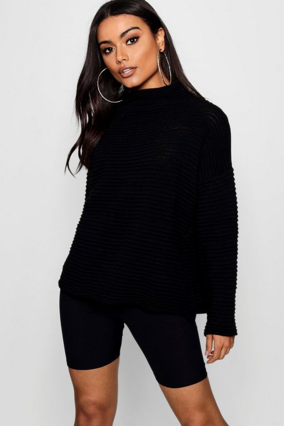 Womens Black Rib Knit High Neck Jumper