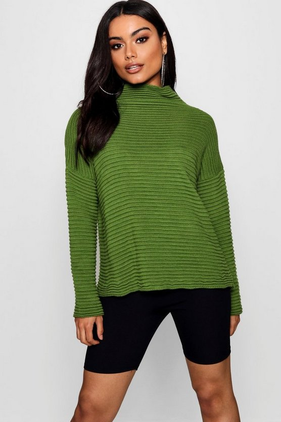 Pullover oversize coste  con collo alto, Lime, Femmina