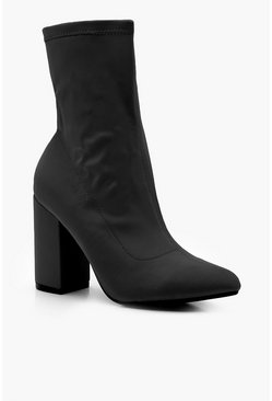 Black Stretch Pointed Toe Sock Boots