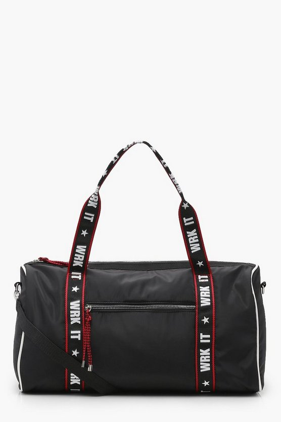 Black WRK IT Slogan Contrast Trim Gym Bag